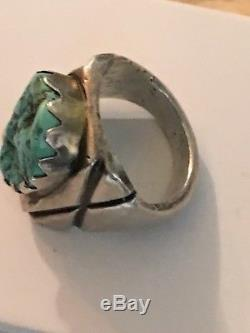 Large Old Pawn Fred Harvey Era Navajo Sterling Silver and Turquoise RING Size 12