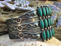 Large Zuni Turquoise Rows Stamped Fred Harvey Era Sterling Silver Cuff Bracelet