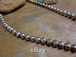 Long Navajo Silver Hand Made Bench Bead Necklace Native Old Pawn Fred Harvey Era