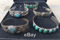 Lot Of Five Old Vintage Fred Harvey Era Sterling Silver Cuff Bracelets