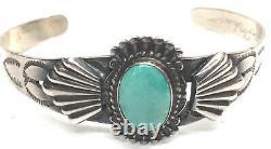 Lovely NAVAJO STERLING & GREEN TURQUOISE Bracelet Fred Harvey Era /Silver Arrow