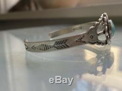 Lovely Sterling Silver Turquoise Flower Bracelet Navajo Fred Harvey Era Old Pawn