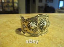 MOST EXQUISITE OLD Fred Harvey Era Navajo Sterling Silver DOME DESIGN Bracelet