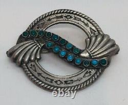 Maisels Fred Harvey Navajo Native American Sterling Silver Turquoise Pin