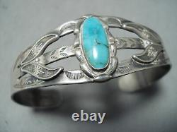 Marvelous Vintage Navajo Native American Turquoise Sterling Silver Bracelet