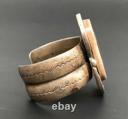 Massive Vtg 1940's Navajo Ingot Sterling Silver Stamped Wide Cuff Bracelet