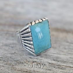 Men's Turquoise Ring NAVAJO Vintage Size 10 Sterling Silver Fred Harvey Era