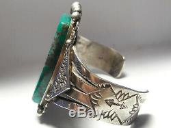 Museum Quality Fred Harvey era Turquoise Sterling Silver cuff bracelet 85 gram