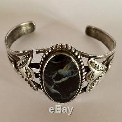 NAVAJO Fred Harvey Era PETRIFIED WOOD Gem STERLING Silver CUFF Bracelet