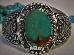 NAVAJO Fred Harvey Era ROYSTON TURQUOISE Stamped STERLING Silver 51g CUFF