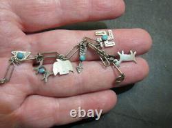 Native American Charm Bracelet w Turquoise & Sterling Silver Fred Harvey Era