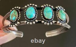 Native American Fred Harvey Era Ingot IH Coin Silver Turquoise Cuff Bracelet