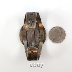 Native American Fred Harvey Era Sterling 1922 Silver Dollar Cuff Bracelet LFG5