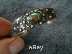 Native American Fred Harvey Era Turquoise Stamped Sterling Silver Cuff Bracelet