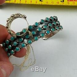 Native American Fred Harvey Sterling Silver Green Turquoise Bracelet & Ring