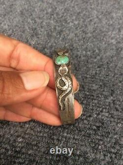 Native American Fred Harvey era Silver Snake Stamp Whirling turquoise bracelet