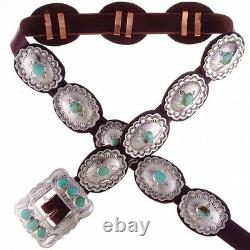 Native Navajo Old Fred Harvey Style Stamped Silver Turquoise Concho Concha Belt