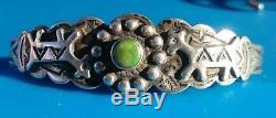 Navajo 1940 Fred Harvey Era Sterling Silver Green Turquoise Dog/horse Arrow Cuff