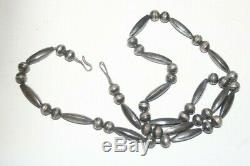 Navajo 26 Silver Hand Made Bench Bead Necklace Native Old Pawn Fred Harvey Era