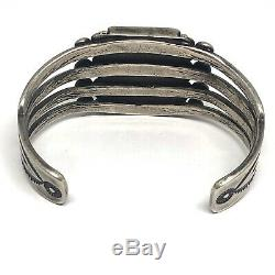 Navajo Cuff Bracelet 55g Petrified Wood Agate 6.5in Silver VTG Fred Harvey Era