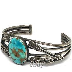 Navajo Cuff Bracelet Turquoise 31g 6.75in Arrows Silver VTG Fred Harvey Era