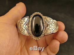 Navajo Fred Harvey Black Onyx Ingot Silver Bracelet 34 Gms Tucson Estate
