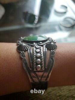 Navajo Fred Harvey Era Coin Silver Turquoise 7 Cuff Bracelet (For Repair)