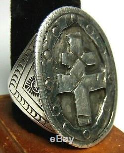 Navajo Fred Harvey Era Cross Lorraine Knight Templar BIKER Silver Ring WW1,2 s11