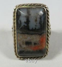 Navajo Fred Harvey Era Sterling Silver and Petrified Wood/Picture Agate Ring 7.5