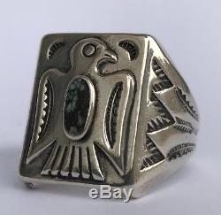 Navajo Fred Harvey Era Thunderbird Turquoise Stamped Sterling Silver Ring Sz 10