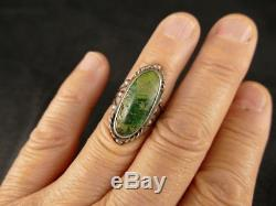 Navajo Fred Harvey Green Turquoise Silver Ring Nice Early Example Tucson Estate