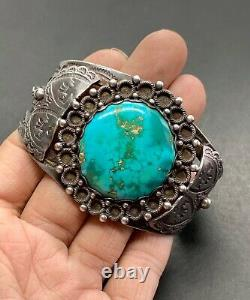 Navajo Fred Harvey Southwestern Sterling Silver Turquoise Thunderbird Cuff
