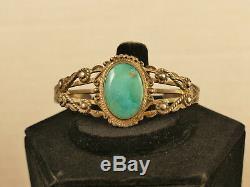Navajo Fred Harvey Turquoise Silver Bracelet 26.8 Gms Vintage Tucson Estate