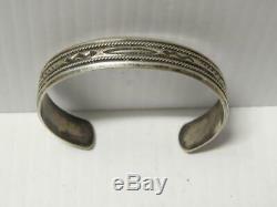 Navajo Indian Sterling Silver Bracelet Vintage Fred Harvey Snake Designs