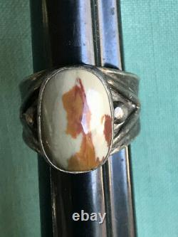 Navajo Indian Sterling Silver Mans Ring Petrified Wood Sz 9.25 14g Fred Harvey