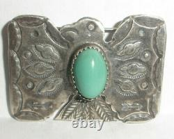 Navajo Old Pawn Fred Harvey Era Sterling Silver Thunderbird Turquoise Brooch