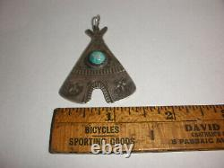 Navajo Old Pawn Fred Harvey Sterling Silver Turquoise Teepee Thunderbird Pendant