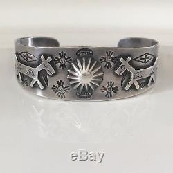 Navajo Silver Ingot Bracelet Vintage 1930's Fred Harvey Repousse Dogs Sun Arrows
