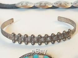 Navajo Silver Jewelry Lot Old Pawn Bracelets Earrings Concho's Fred Harvey Era
