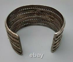 Navajo Silver Twisted Wire & Band Cuff Bracelet Old Pawn Fred Harvey Era