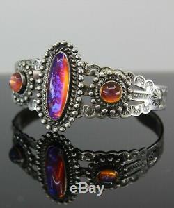 Navajo Sterling & Dragon's Breath Cuff Fred Harvey Era Vintage Silver Bracelet