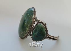Navajo Sterling Silver Fred Harvey Era 3 Stone Azurite funky Bracelet Dead Pawn