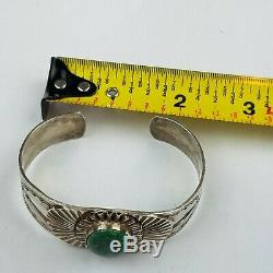 Navajo Sterling Silver Fred Harvey Hand Stamped Arrows Early Wide Cuff Bracelet