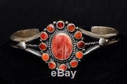 Navajo Sterling Silver Spiny Oyster Shell Bracelet Fred Harvey Style sz. 6.5