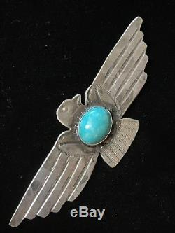 Navajo Sterling Silver Turquoise Fred Harvey-Style Thunderbird Brooch/Pin
