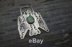Navajo VTG Old Pawn Fred Harvey Watch Fob Silver Turquoise Thunderbird