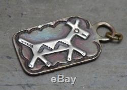 Navajo VTG Old Pawn Trading Post Fred Harvey Dog Tag Copper Silver Horse Fob