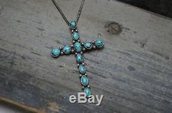 Navajo VTG Old Pawn Turquoise Cluster Cross Pendant Fred Harvey Era Coin Silver