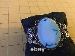 Navajo Vintage Old Pawn Lake turquoise Cuff Bracelet Fred Harvey Era Coin Silver