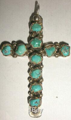 Navajo old pawn chunky turquoise Sterling Silver pendant cross Fred Harvey era